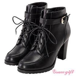 Grace gift-個性釦環綁帶高跟短靴