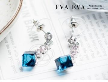 宴會款閃耀美鑽佐藍色小方塊耳環